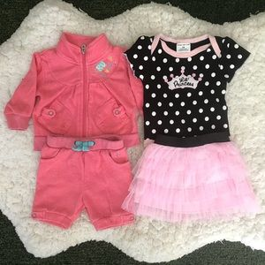 4PC 3 Month Pink Ruffle Baby Girl Outfit Bundle